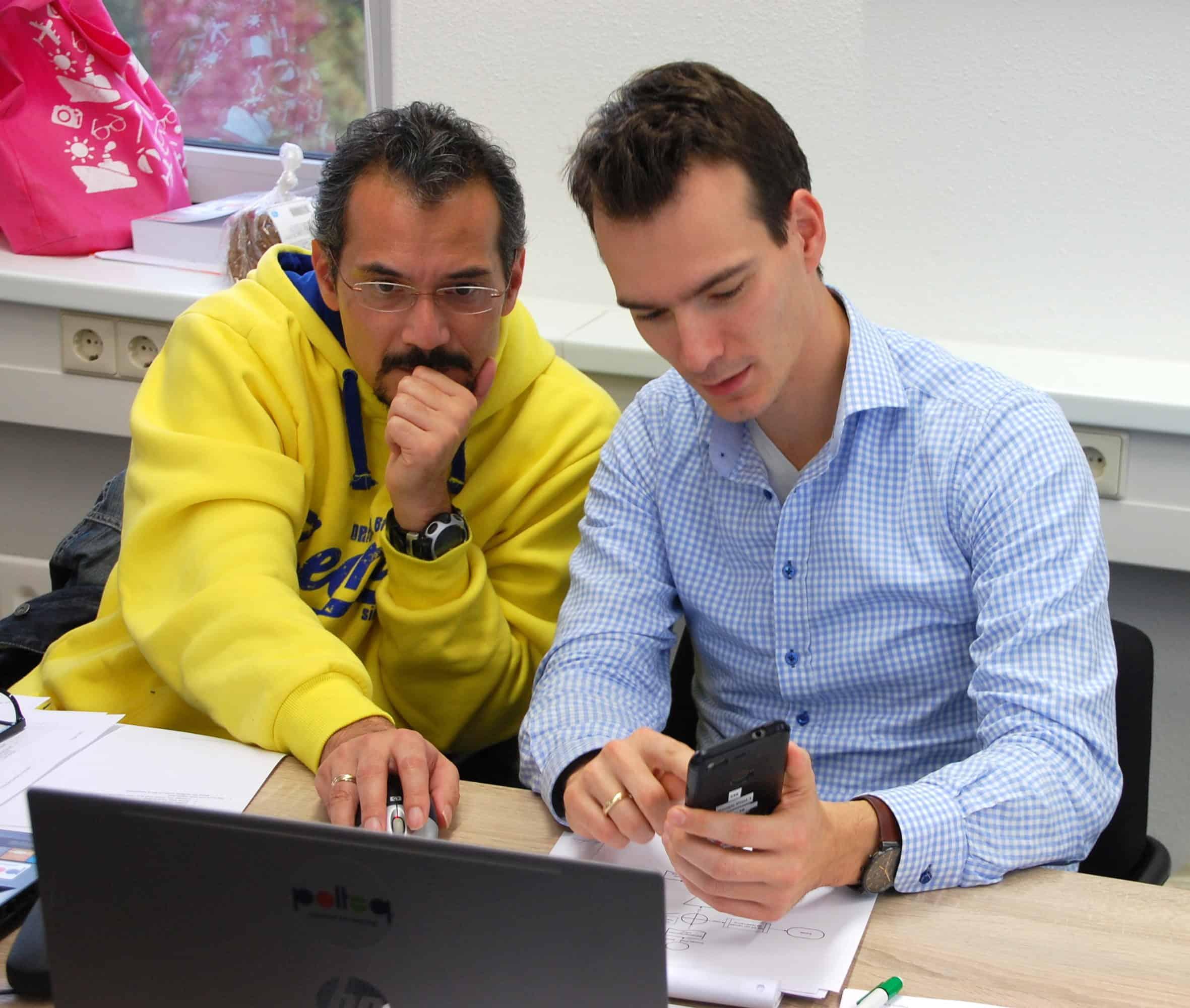 """Stefan tijdens de module """"Mobile App Testing"""""""