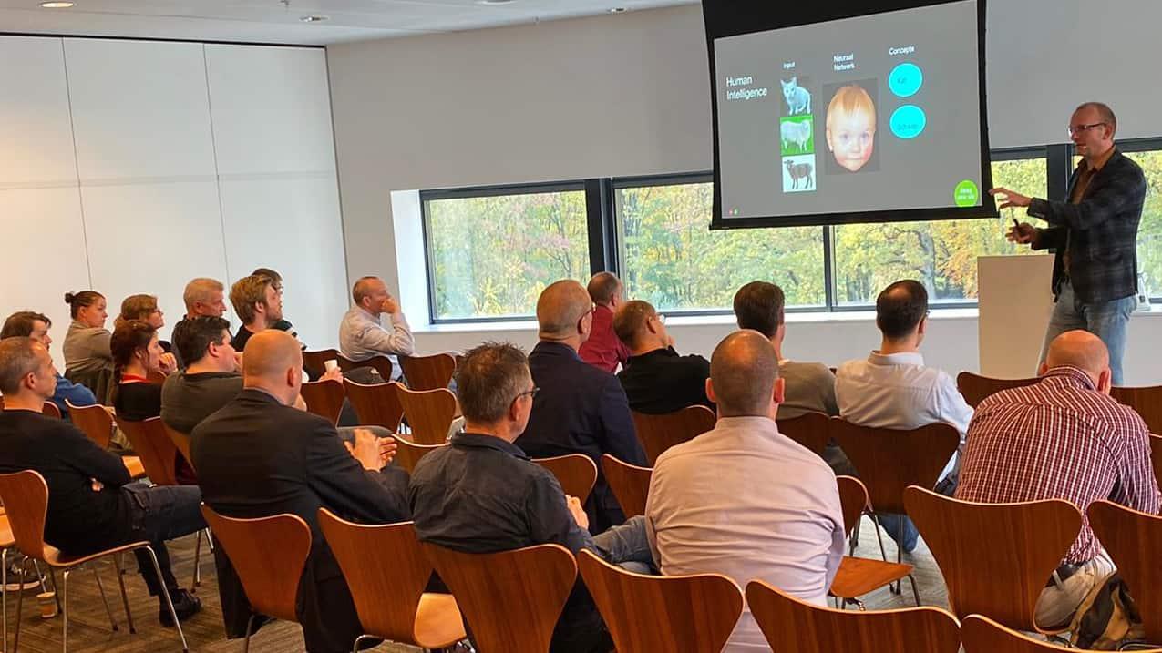 Gerard Numan, Polteq, spreekt op het Achmea test event 2019 over Artificial Intelligence