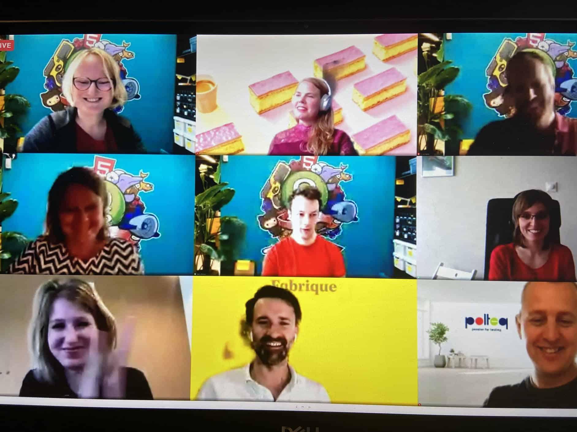Het team van HEMA, Q42, Polteq en Fabrique tijdens de online award uitreiking van de Dutch Interactive Awards: