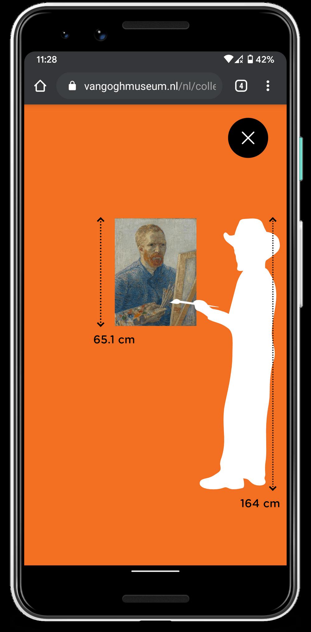 'Vincent for Scale': de ware grootte van een werk wordt getoond aan de hand van een geïllustreerd Van Gogh-figuurtje.