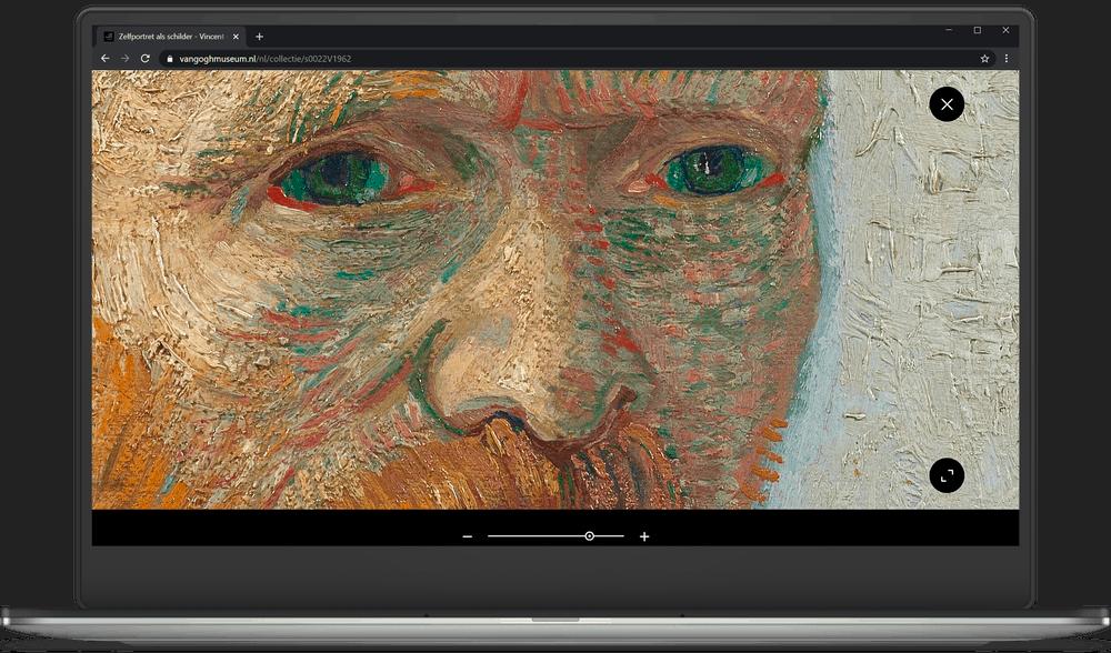 Inzommen tot op de penseelstreek van de kunstwerken van Van Gogh